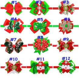 12styles Children Christmas tree headdress Snowman Santa Claus Snowflake print hairband baby hair accessories holiday gifts headwear