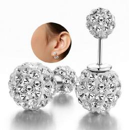 New Women Girls 925 Sterling Slilver Plated Double Crystal Ball Ear Stud Earrings Jewelry Rhinestone Shambhala Double Side Earring Femme
