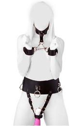 Kinky Sex Bondage Set PU Leather Female Vibrator Harness Forced Multi Orgasm Underwear with Neck Collar to Wrist Restraint Cuffs