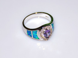 Wholesale Retail Fashion Fine Blue Fire Opal Rings with Blue Cubic Zirconia Stone Sterling Sliver Jewelry RAL152502