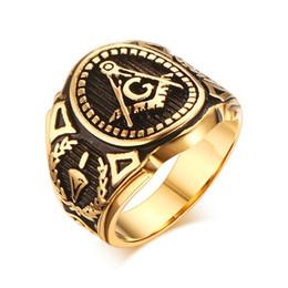 Wholesale 18K Gold Plated Freemason Ring Men s Master Mason Freemasons Masonic Symbol Stainless Steel Vintage Look Ring