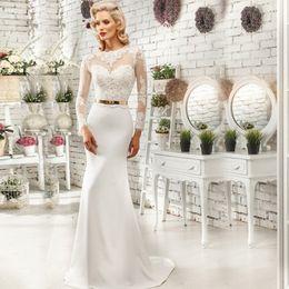 Wholesale Aliexpress Hot Sale High Neckline Long Sleeves Sheer Applique Sheath Wedding Dress with Gold Belt Sexy Bridal Dress vestido de