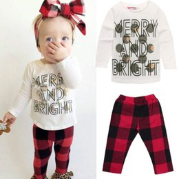 Wholesale Sleepwear T Shirts Cotton - hot sale kids baby suits 0-24M Toddler Girls Tops merry and bright long sleeve T-shirt+striped Pants Outfit Sleepwear cool Pajamas Clothing