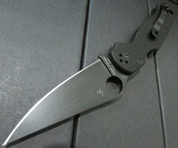 Wholesale 2016 Spyderco C81 GPCMO2 Paramilitary Knife Spyderco C81 knife G handle black blade Top quality Real photo A