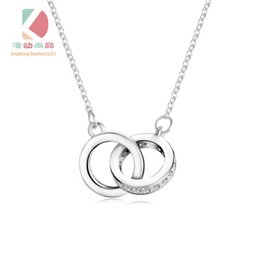 lingdong fashion brand double loop pendant 2016 new 925 Sterling Silver Chain Necklace Jewelry box gift for Valentine's Day Free shipping