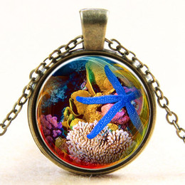 Gem pendant necklace blue Starfish underwater world time trade new Y082