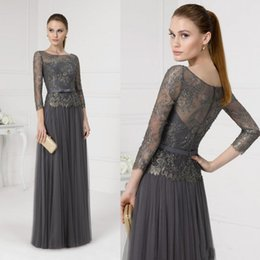Wholesale Long Sleeves Lace Mother Of The Bride Dresses Jewel Neck Beads Wedding Formal Dress Mothers For Bridal Aire Barcelon Long Evening Prom Gown