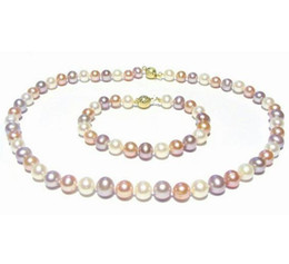 Gorgeous 8-9mm white pink purple Multicolor Pearl Necklace 14k gold clasp free Bracelet
