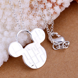 Wholesale 2016 Lovely Simple Animal Silver Mickey Mouse Pendant Necklace From Animated Film as a Christmas Gift on