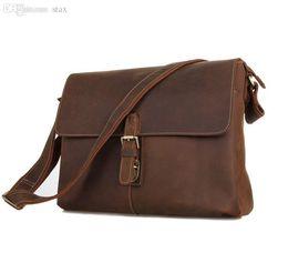 Wholesale-Top Quality Europe Business Crazy Horse Genuine Leather Men Messenger Bags Brown Color Cowhide Vintage Shoulder Bag #VP-J7084L