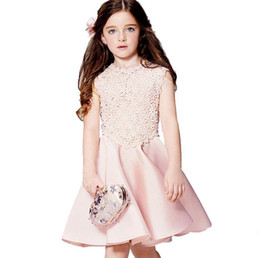 2018 Hot Sale Girls Dresses Children Pink Sleeveless Lace Cotton Party Dresses Fashion Kids Birthday Ball Gown