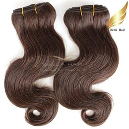 Grade 8A Brazilian Body Wave Colored Human Hair Weft Brown #4 Wavy Human Hair Weaves Free Shipping Bella Hair Extensions