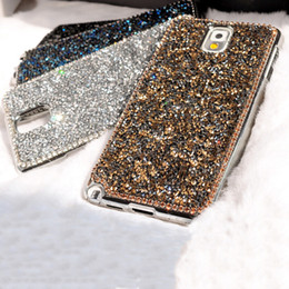 Wholesale-New Style Fashion texture Luxury Bling Rhinestone Shards diamond back cover pretty phone case for Samsung galaxy Note 3 Note 5