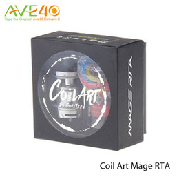 Wholesale Authentic Coil Art Mage RTA Atomizer New coilart vaporizer ml shortest top fill mm Rebuildable tank with Replacement Glass Tube for mod