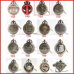 Wholesale 20 type harry potter one piece superman Naruto deadpool pocket watch necklace quartz Watch fob pocket Watches locket women gift