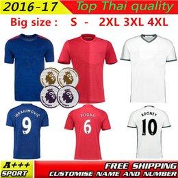 Wholesale 2016 MancHESTER Jerseys home away RD MARTIAL IBRAHIMOVIC POGBA Rooney Jerseys football shirts Big SIZE S XXL XXXL XL