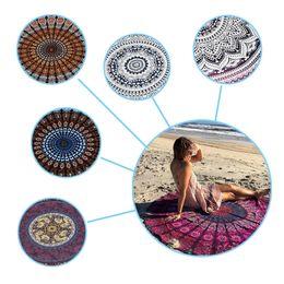 Indian Mandala Round Roundie Beach Throw Tapestry Hippy Boho Gypsy Cotton Tablecloth Beach Towel Round Yoga Mat Chiffon Beach Pad
