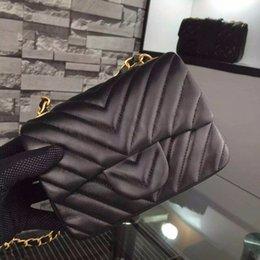 Classic Brand CF Black Original Lambskin Leather Mini Flap Bag Women V Lattice Women Chevron Quilting Single Shoulder Bag Gold Chain 17cm