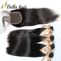 Unprocessed Indian Human Hair Bundles 4PC+1PC Lace Top Closure Natural Color Straight Hair Extensions Weave Bellahair Full Head 5PCS