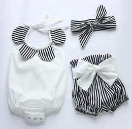 3pcs set!2016 New summer infant baby girls boutique romper shorts headband clothing set black white strips cotton romper diaper bodysuit