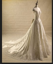 Wholesale Plus Size Wedding Dresses Best Ball Gown Wedding Dress New Arrival Sweep Train Spaghetti Lace Satin Wedding Gowns Custom Made