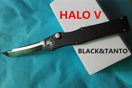 Wholesale high quality microtech halo V black elmax blade tanto drop point Aluminum handle dual action removal tool K sheath CNC freeshipping