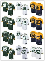 Wholesale 2016 hot sale football Youth Green Bay cheap Packers Aaron Rodgers Youth Jerseys authentic Youth football shirt size S XL