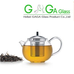 Wholesale NEW Product mlpyrex glass teapot little glass tea pot tea kettle with measurement scale wooden lid handmade glassware