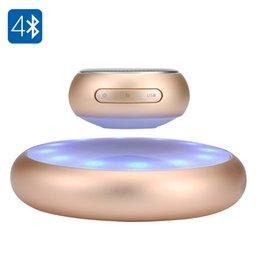 Wholesale Levitating Bluetooth Speaker M6 automatic wireless charging Magnetic Floating Speaker LED Lights showTF card Slot Hands free Mic phone Speak
