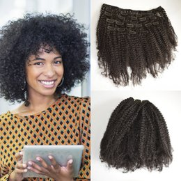 Mongolian Virgin Afro Kinky Curly Clip in Human Hair Extensions,100% Human Hair Curly Clip In Extensions,7Pcs set,Color 1B G-EASY