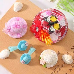 5 pcs lot Children Hair Accessories Wholesale Mixed Color Straw Hat Hair Clips Girls Hair Clips Support Free Shipping