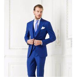 Wholesale Business Bule Groom Tuxedos Best Man Slim Formal Wedding Party Dinner Suit Jacket Pants Vest