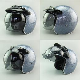 Cascos de carreras de la vendimia en Línea-2016 Nueva motocicleta de la fibra de vidrio del adulto del diseño Cascos abiertos de la cara Vintage 3/4 que compite con los cascos de la vespa Cascos del jet Moto con el protector de la burbuja ECE