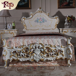 Baroque antique furniture bedroom-rococo style bed - high end classic villa furniture luxury bed