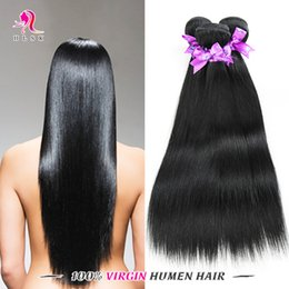 Wholesale 3 Bundles Beauty Peruvian Straight Hair Extensions Brazilian Human Hair Black Color HLSK Queen Hair Double Weft