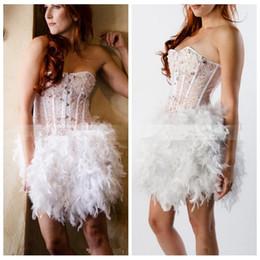 Compra Online Damas mini vestido vestido-Desgaste nueva moda 2017 vestidos de coctel rebordeó perlas de cristal de la pluma de la falda de las señoras de baile vestidos de la celebridad formal corto Mini 2017