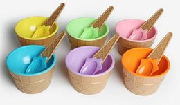 Wholesale Kids ice cream bowls ice cream cup Couples bowl gifts Dessert container holder with spoon Best children gift