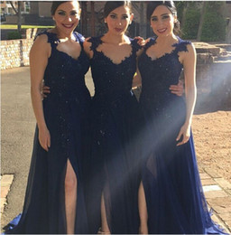 Best Selling Dark Blue Long Brdesmaid Dresses High Slit Sexy Evening Prom Dress Gowns No Sleeve Sexy Party Gowns Cheap