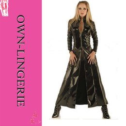 Wholesale Selling Gowns Online - Women black full length coat,plus size long gown coat,xxxxl size,leather coat,pu wet look coat online sell