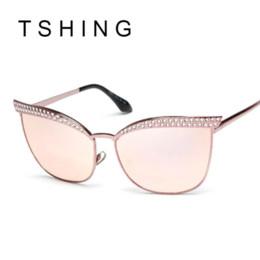 2016 New Brand Crystal Diamond Cat Eye Sunglasses Women Luxury Famous Designer Vintage Mirror Sun Glasses For Ladies