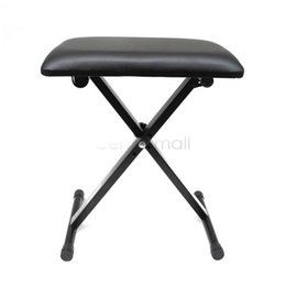 Wholesale TopStage Modern Black Piano Bench Adjustable Folding Bench Black Leather Piano Seat Bench New us6