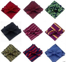 Wholesale Silk Ties Tie Sets - 10pcs Men bow tie pocket cloth suits Dress to marry the groom bow ties Suit pocket towel Square bow tie