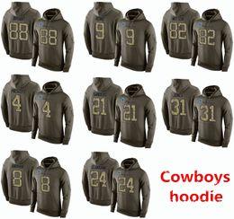 Wholesale 2016 New Cheap Men s Dallas and Cowboys Dez Bryant Witten Ezekiel Elliott Olive Green America Football Pullover hoodies Sweatshirts