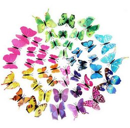 Wholesale 30 Style D PVC Beautiful Magnetic Butterfly Removable Wall Stickers Butterfly Fridge Magnet Sticker Living Room Wall Decoration ak085
