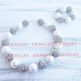20mm white pearl silver rhinestone beads chunky Bubblegum kids necklace&Bracelet SetCB808