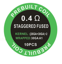 Prebuilt Staggered Fused clapton coil 10pcs box 0.4ohm resistance atomizer vape coil fast heating juice wicking