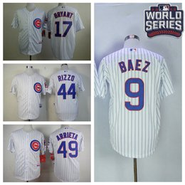 Wholesale Men s Chicago Cubs Javier Baez Majestic White Home Jersey with World Series Patch Bryant Champions Jerseys Grey Blue In Stock