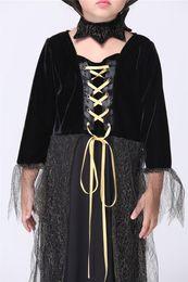 Araignées noires en Ligne-Gold Hands Little Costume Cosplay Girl Halloween Witch Velvet Dresses Kids Noir Lace-up Spider Girl Stage porte Livraison gratuite