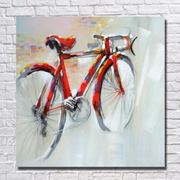 Wholesale Abstract Red Bicycle Painting for Home Decor Hand Painted Oil Painting Modern Canvas Art Best Quality No Framed