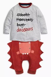 wholesale 2016 2pcs  set Children's clothing spring autumn Sweater trousers New Letter Sweater Dinosaur Casual pants